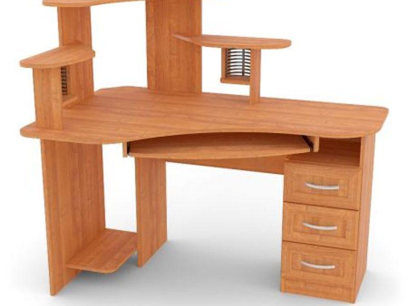 Угловой компьютерный стол уск-5, цвет: груша, конфигурация: .