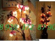 Цветы светильники Светильники в виде цветов из обработанной коры дерева- неповто
