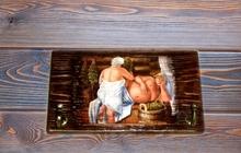 Вешалка-панно для бани из массива сосны