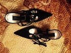 Уникальное фото  Новые туфли! Куплены в Италии, Cristian Lacroix, размер 35 1/2, атлас, вечерние, чёрные, 36282170 в Красноярске