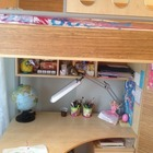 Детская кровать-чердак со шкафом И столом Ж М