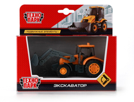 Трактор-экскаватор Технопарк цвет:оранжевый, сделан из металла и пластика, издел