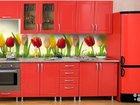 Кухонный гарнитур красный с фотопечатью
