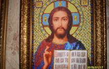 Продаю картину вышитую бисером Икона Иисуса Христа 5 тыс руб
