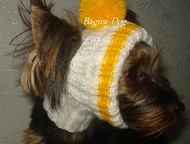 Шапки для собак Шапочки связаны из двойной мохеровой нити, без швов, с учетом вс