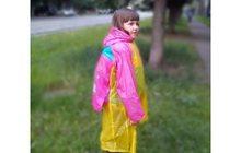 Дождевик для девочки с расширением для рюкзака