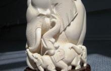 Статуэтка Слон-Погонщик 100% слоновая кость целый бивень слона