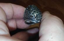 Старинный серебряный перстень с вензелями