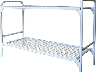 Смотреть изображение  Кровати металлические двухьярусная, для больниц, металлические кровати с ДСП спинками, кровати для бытовок, кровати оптом, От производителя, 34084745 в Москве