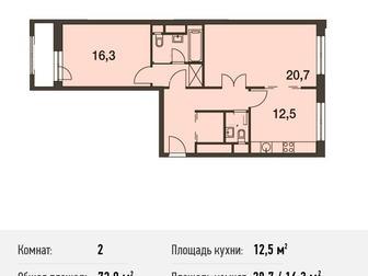 Продается 2-комн,  кв-ра площадью 72,9 кв, м на 5 этаже 16 этажного монолитного дома в ЖК Город на Реке Тушино-2018 от компании Est-a-Tet,  Старт продаж 2-й очереди, в Москве