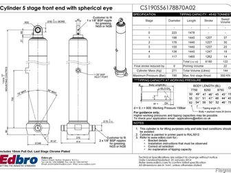 Смотреть фото Автозапчасти Гидроцилиндр фронтальный телескопический Edbro CS190S56178B70A02 на самосвальный полуприцеп Панав 39622936 в Ижевске