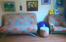 Продам диван + кресло + пуфик