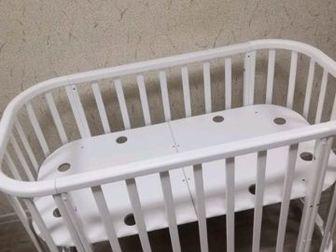 Овальная кроватка-трансформер 4 в1,  ??Варинты сборки:?Кроватка?Приставная кроватка?Манеж?ДиванчикКроватка идет с рождения и до 4 лет, КРОВАТКА легко проходит в в Новосибирске