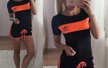 Спортивный костюм AS с шортами черный с оранжевым