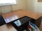 Продаю стол с приставкой для офиса коричневый