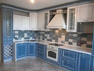 Кухня «Морская» 2010х4070 мм Модули с фасадами массив дуба (эмаль), петли Blum с