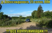 Зем, участок 25 соток, в д, Александровка, ЛПХ